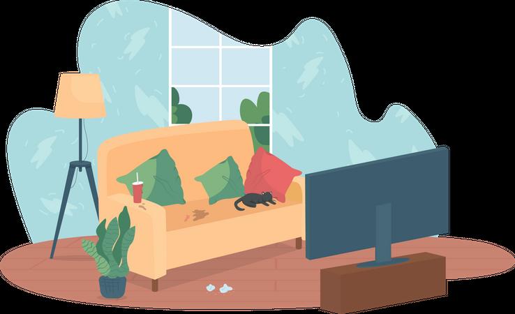 Messy living room Illustration