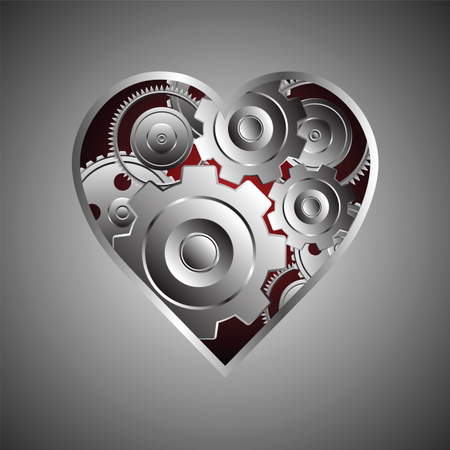 Metal Gear And Cogwheel With Heart Shape Illustration