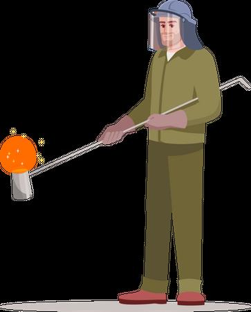 Metallurgy factory worker Illustration