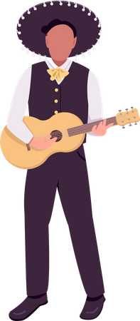Mexican musician with guitar Illustration