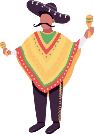 Mexican musician with maracas Illustration