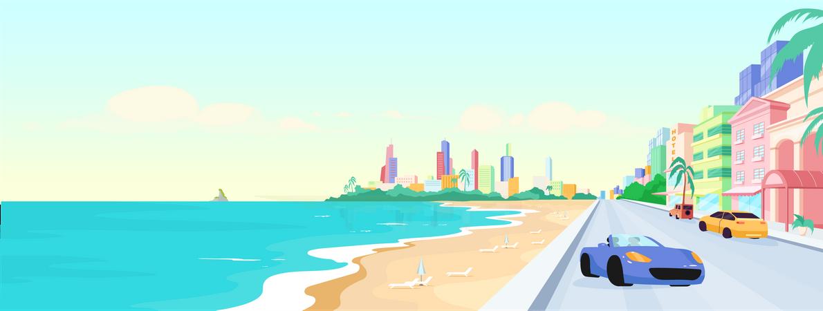 Miami beach at daytime Illustration