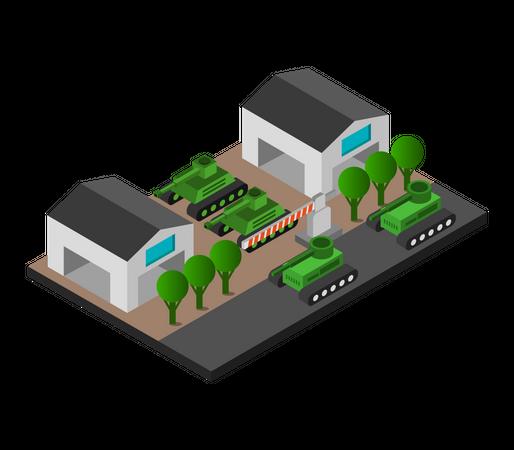 Military Base Camp Illustration