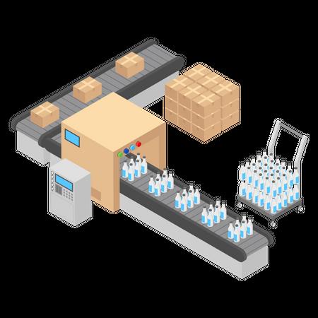 Milk bottles Packaging Illustration