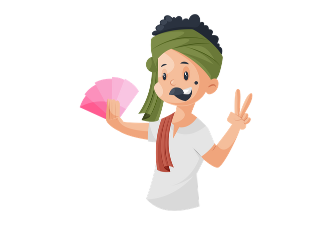 Milkman holding money in hand and showing victory sign Illustration