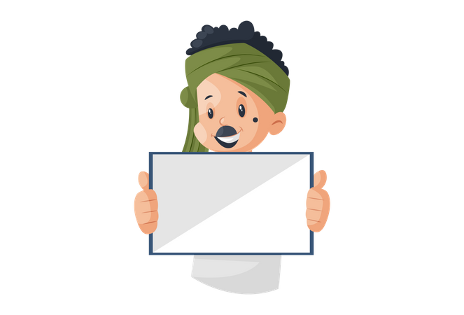 Milkman is holding the whiteboard in his hands Illustration