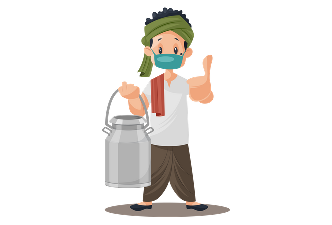 Milkman wearing mask, holding milk can in hand and showing thumbs up Illustration