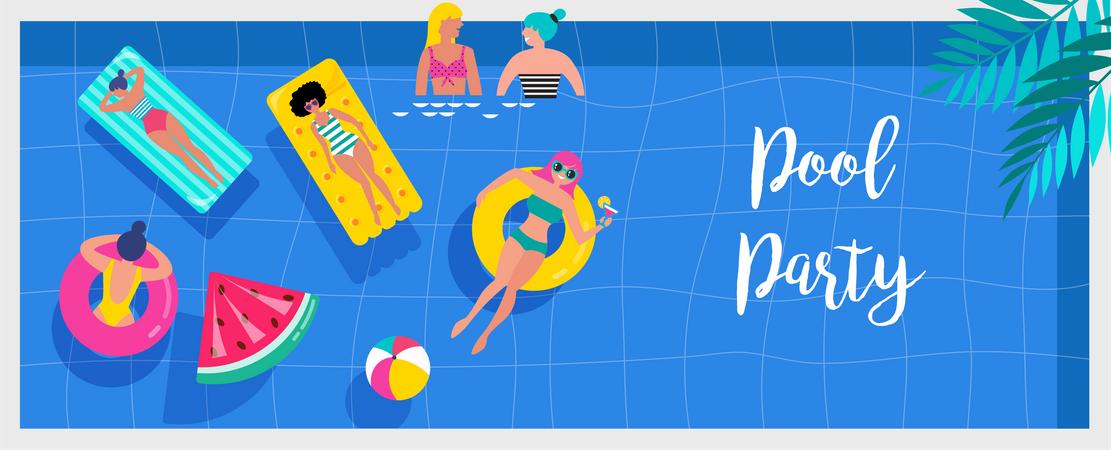 Miniature people swimming and having fun on the pool Illustration