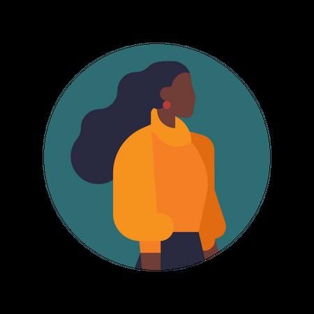 Minimalist character design on African American woman Illustration