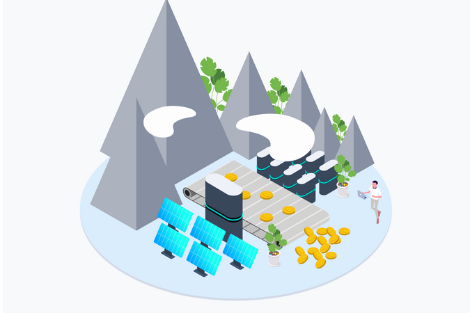 Mining of Cryptocurrency using green energy Illustration
