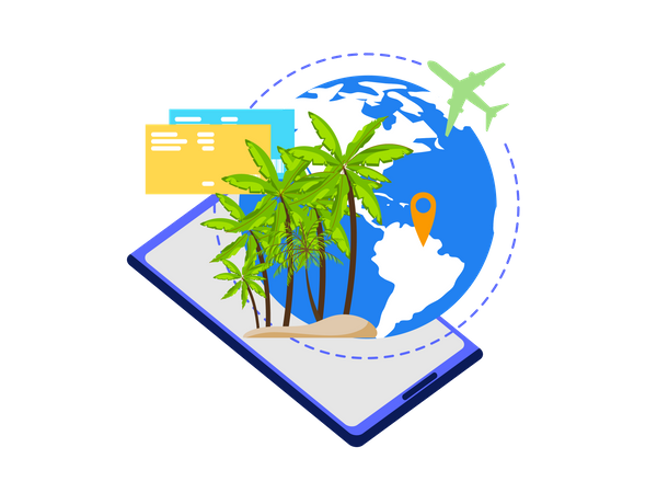 Mobile App for Travelers, Planning Vacation Trip, Booking Tickets Online Illustration