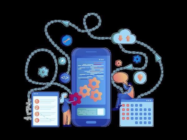 Mobile App Independent Development Banner Set Illustration