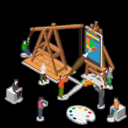 Mobile app UI design Illustration