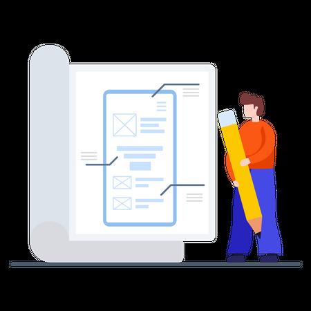 Mobile Application Blueprint Illustration