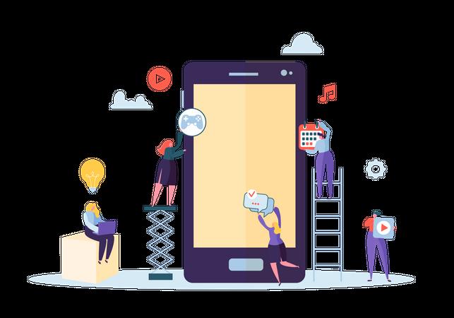 Mobile Application build up Illustration