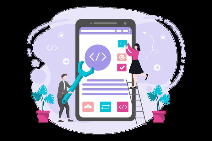 Mobile Application Coding Illustration