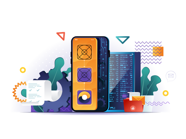 Mobile application design, prototyping and programming Illustration