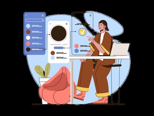 Mobile application designing Illustration