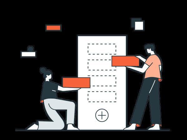Mobile Application Development by Development team Illustration