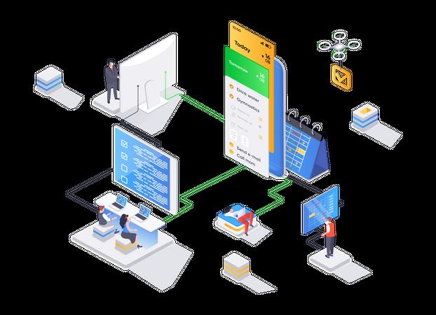 Mobile application for business planning Illustration