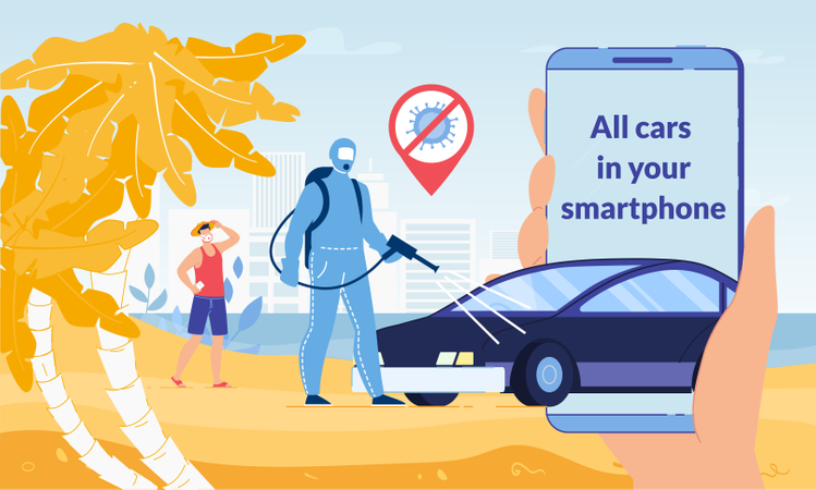 Mobile Application for Rent Car during coronavirus pandemic Illustration