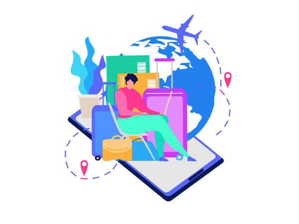 Mobile Application for Travelers Illustration