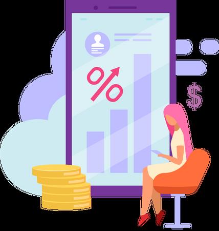 Mobile banking account balance Illustration