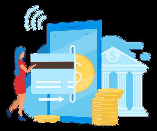 Mobile banking app Illustration
