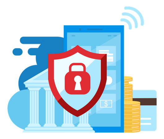 Mobile banking security Illustration