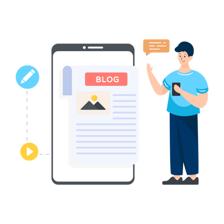 Mobile Blogging Illustration