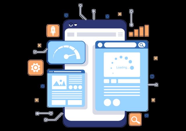 Mobile browser optimization Illustration
