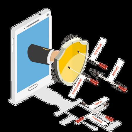 Mobile browser security Illustration