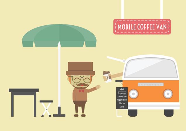 Mobile Coffee Van, Hipster Lifestyle On Street Illustration