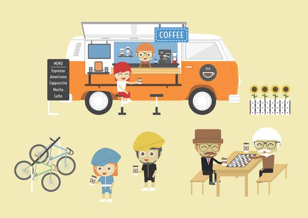 Mobile Coffee Van, Hipster Lifestyle On Street, Paste, Flat Style Illustration
