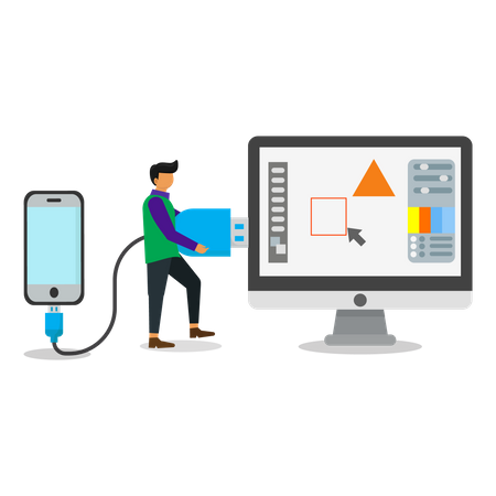 Mobile connecting to computer Illustration