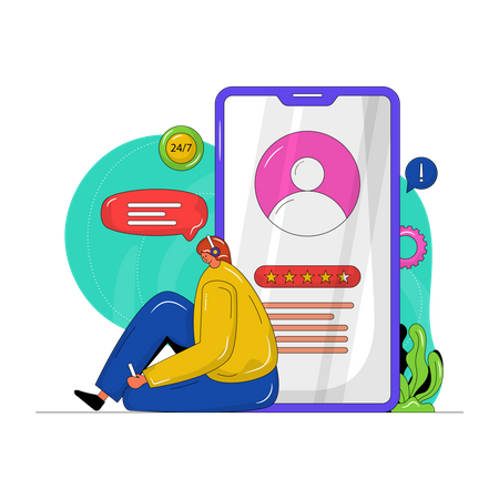 Mobile Customer Service Illustration