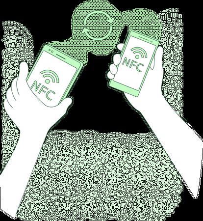 Mobile data transfer using NFC Illustration