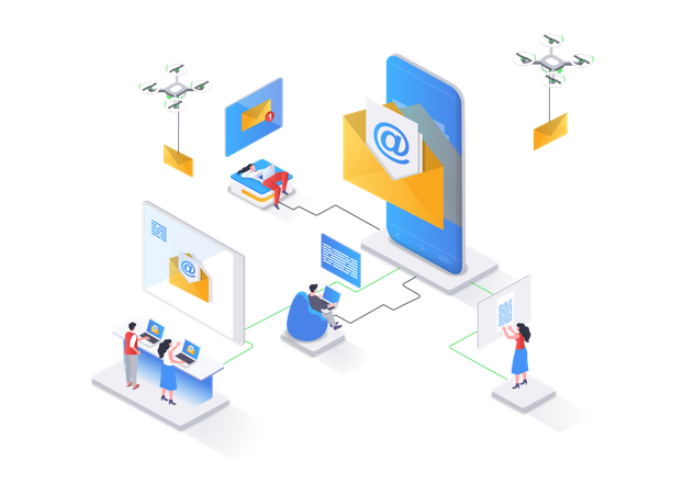 Mobile email service Illustration
