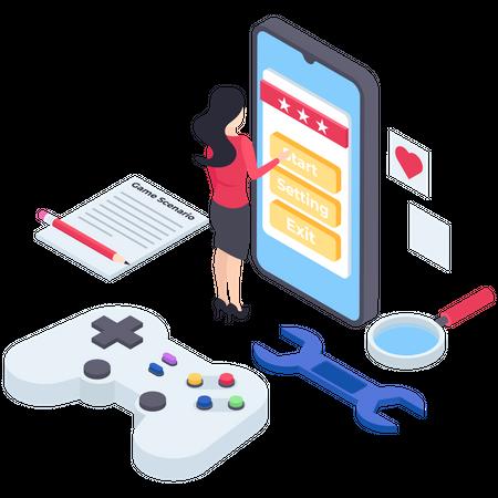 Mobile Game development Illustration