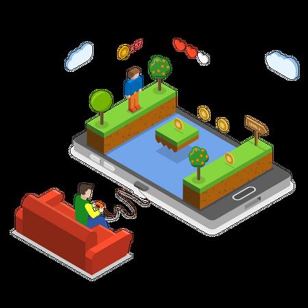 Mobile gaming Illustration