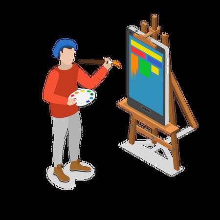 Mobile GUI creation Illustration