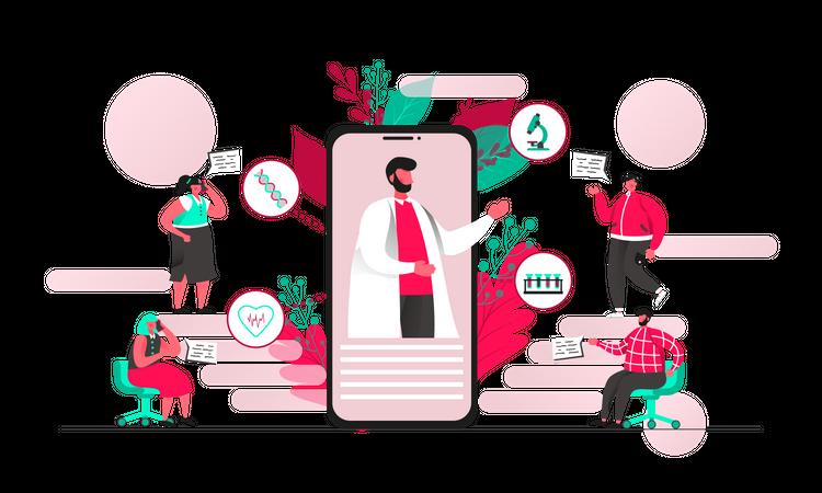 Mobile healthcare application Illustration