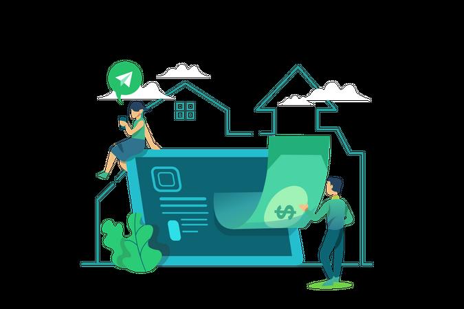 Mobile money transfer Illustration