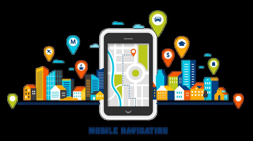 Mobile navigation Illustration