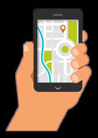 Mobile navigation app Illustration