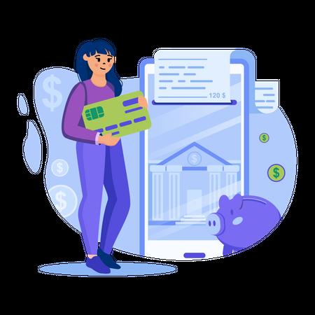 Mobile net banking Illustration