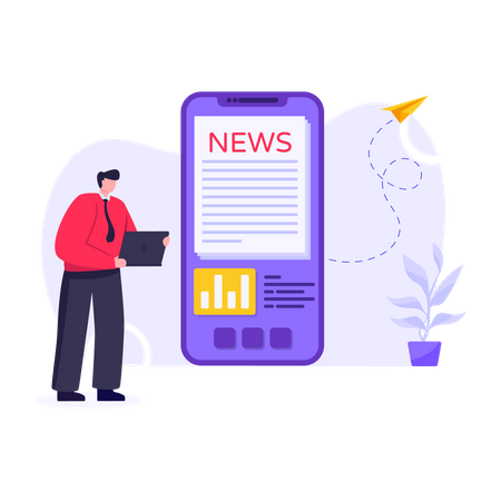 Mobile News Illustration