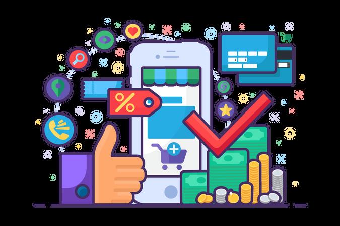 Mobile Online Shopping Illustration