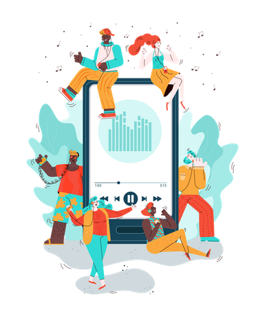 Mobile phone and people listening music Illustration