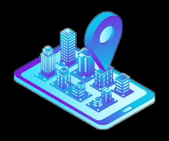 Mobile Phone Navigation Illustration